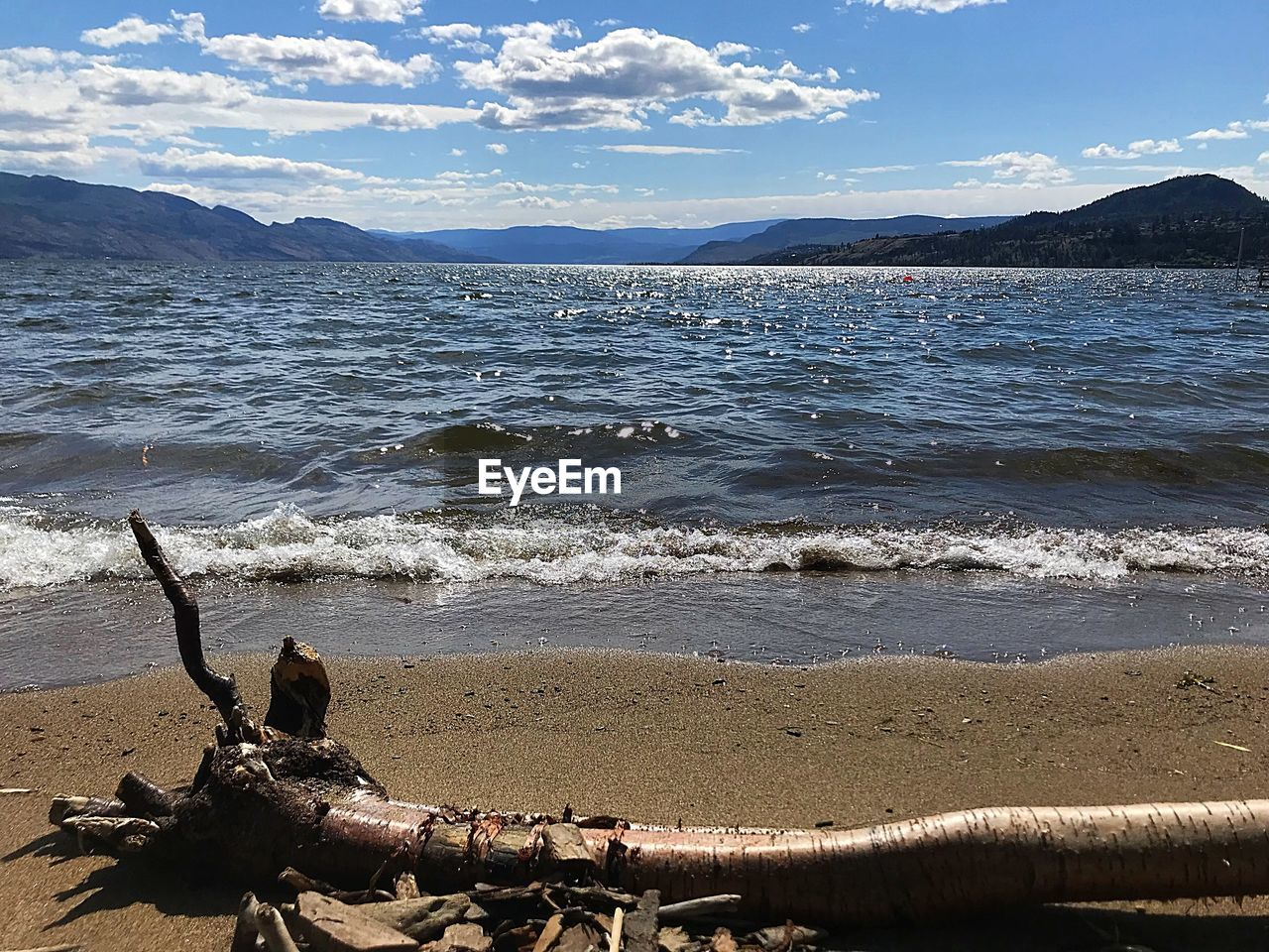 water, beach, sea, land, scenics - nature, beauty in nature, sky, nature, tranquility, day, cloud - sky, tranquil scene, idyllic, non-urban scene, no people, wave, mountain, motion, outdoors, driftwood