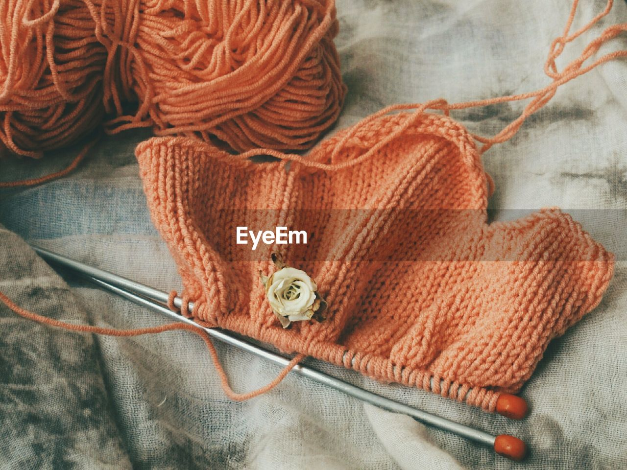 High angle view of knitting product on table