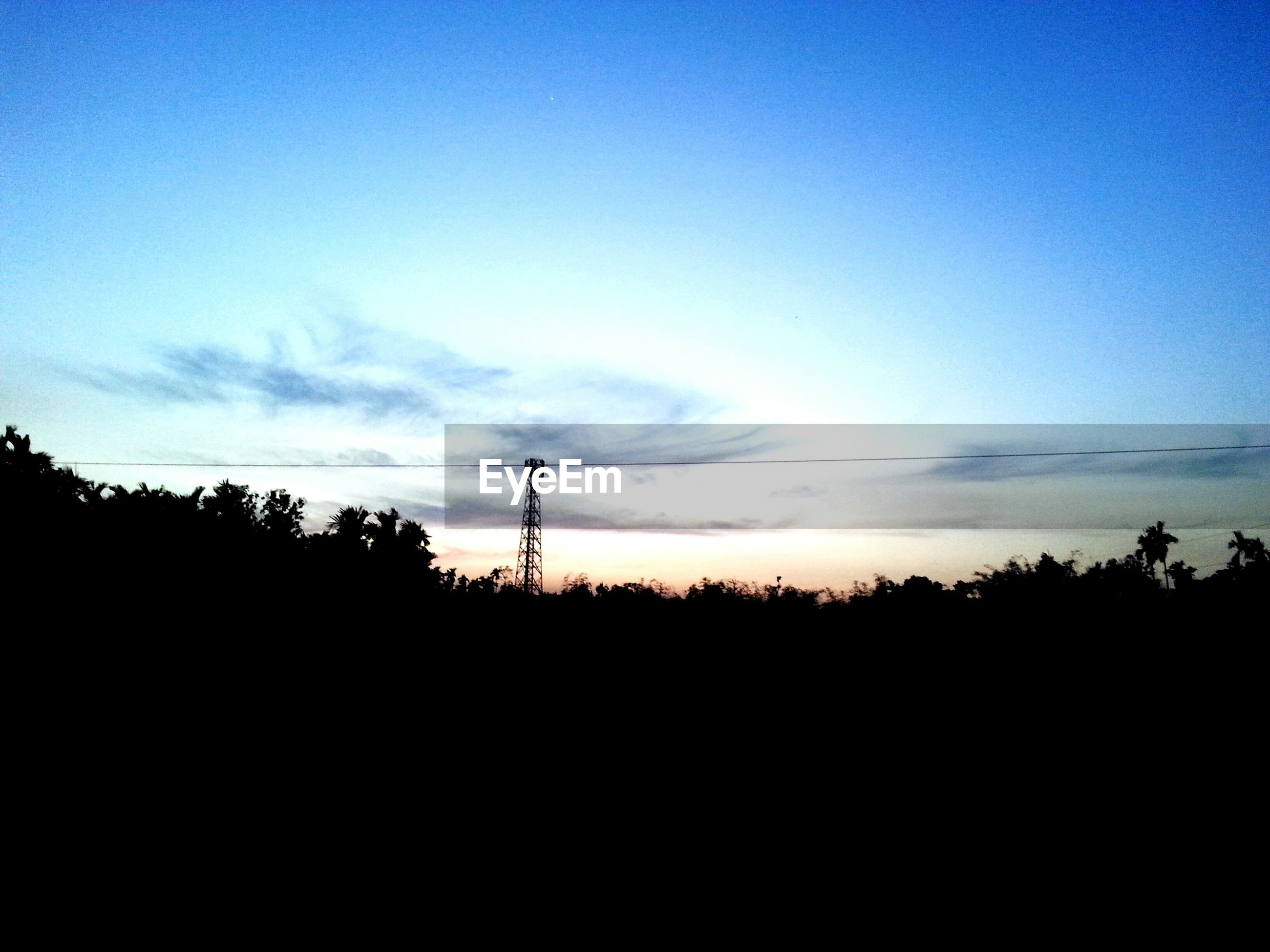 silhouette, sunset, electricity pylon, scenics, tranquility, electricity, power line, tranquil scene, sky, beauty in nature, power supply, tree, fuel and power generation, nature, technology, connection, landscape, copy space, blue, idyllic