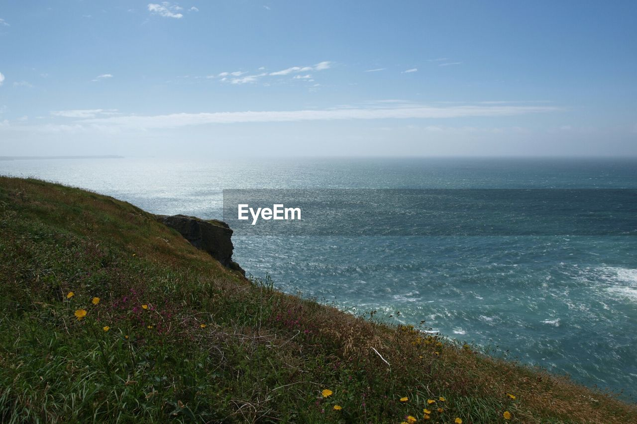 Scenic View Of Grassy Field And Sea Against Sky