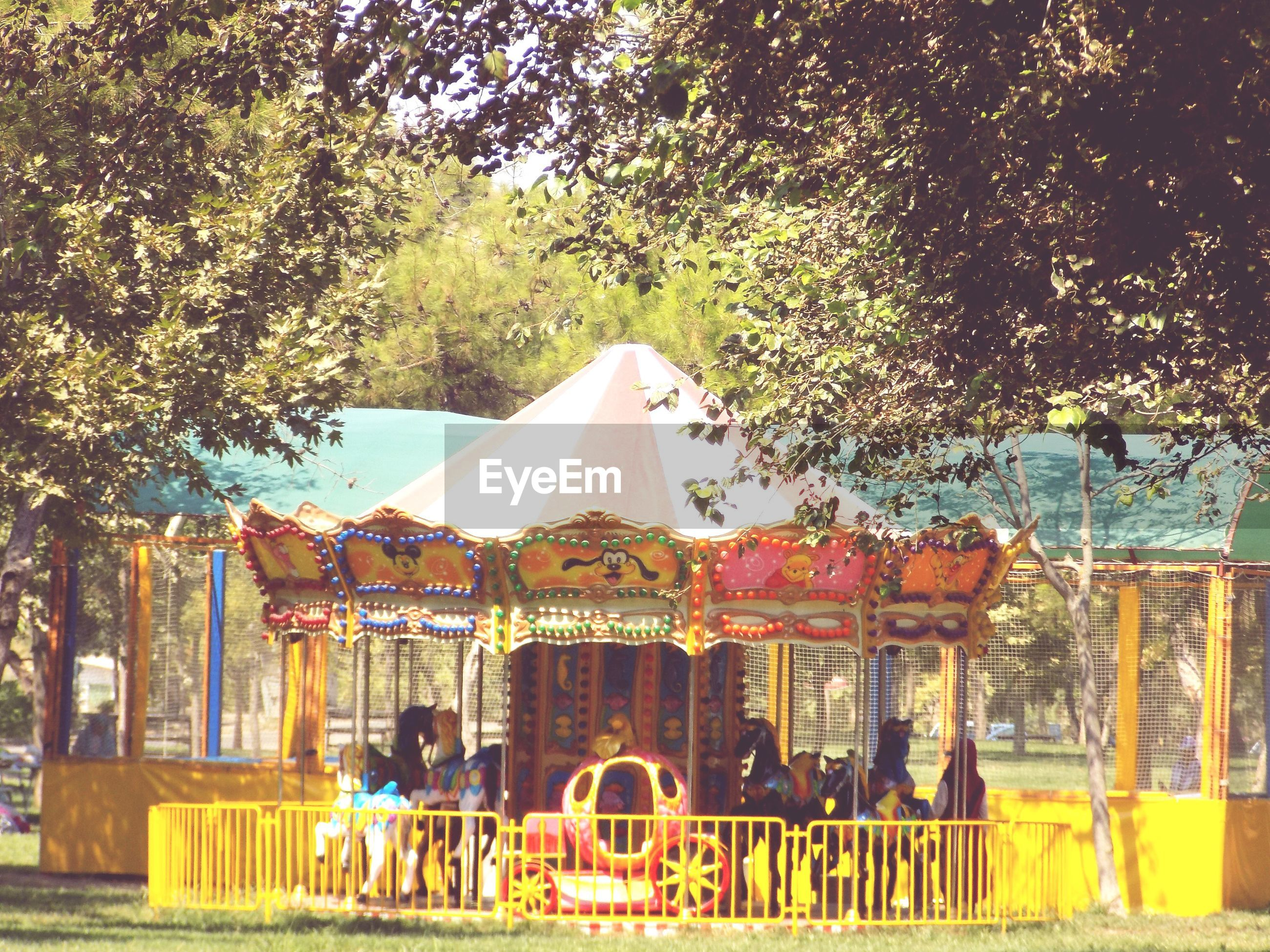 amusement park, tree, arts culture and entertainment, carousel, outdoors, day, built structure, amusement park ride, no people, merry-go-round, sky
