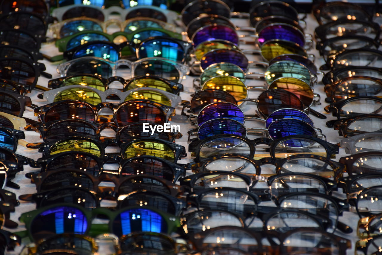 High Angle View Of Eyeglasses On Display At Store