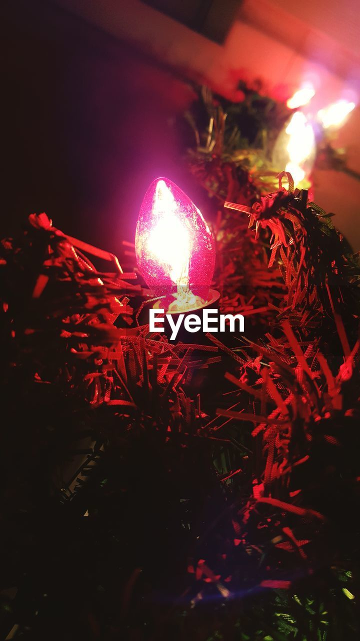 night, celebration, illuminated, glowing, christmas, christmas decoration, burning, christmas tree, no people, christmas ornament, christmas lights, flame, heat - temperature, indoors, low angle view, close-up