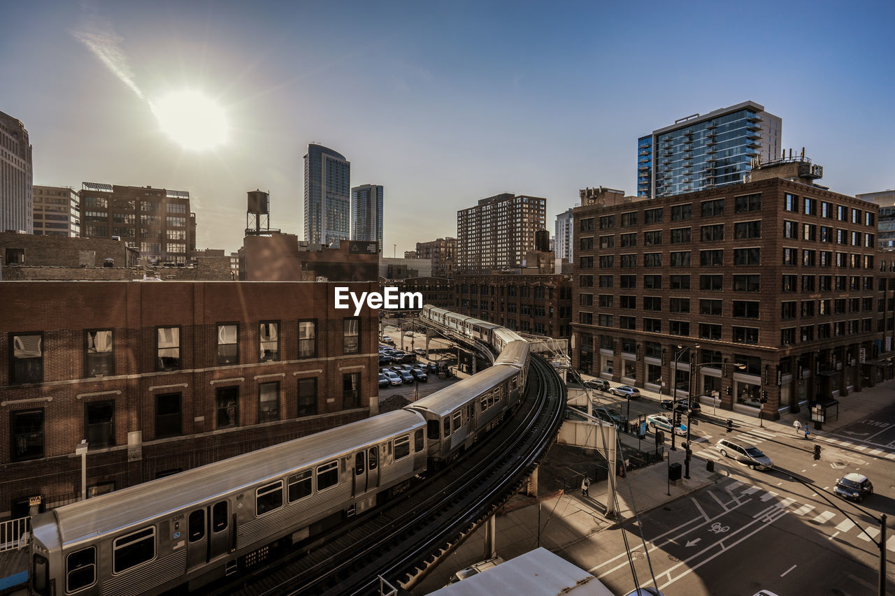 Elevated Train Along Built Structures