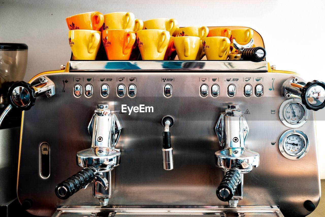 indoors, no people, metal, still life, equipment, technology, machinery, close-up, large group of objects, container, domestic room, coffee maker, appliance, control, household equipment, machine part, espresso maker, kitchen, food and drink, silver colored, steel