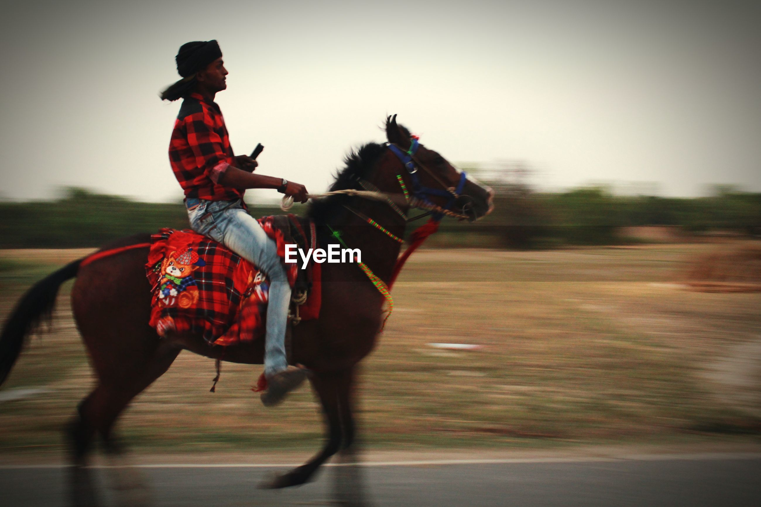 Blurred motion of man riding horse on road
