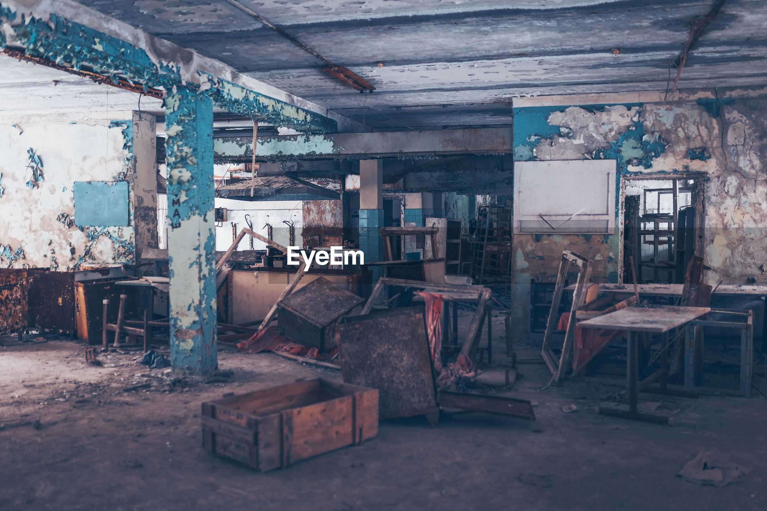 Interior of old abandoned built structure