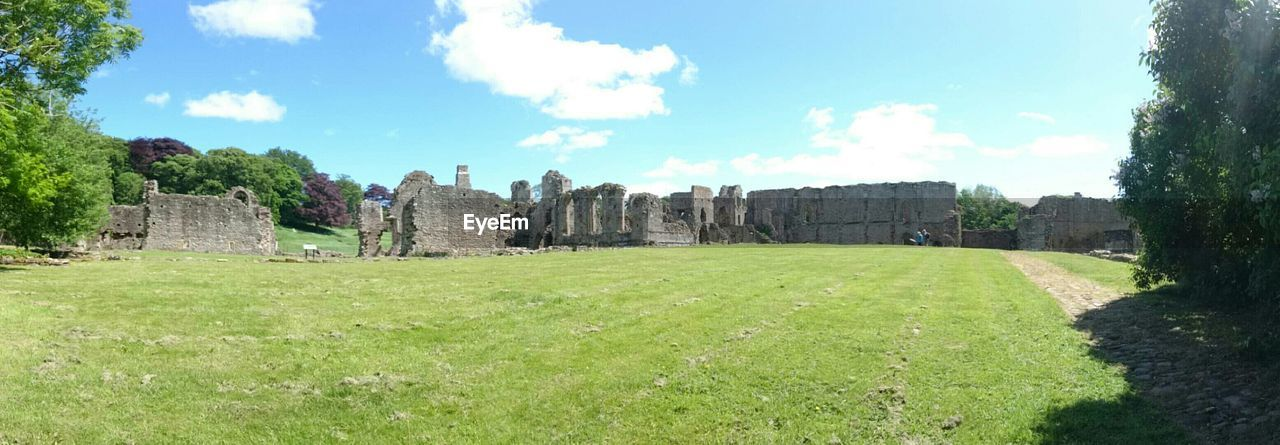 Panoramic shot of easby abbey against sky