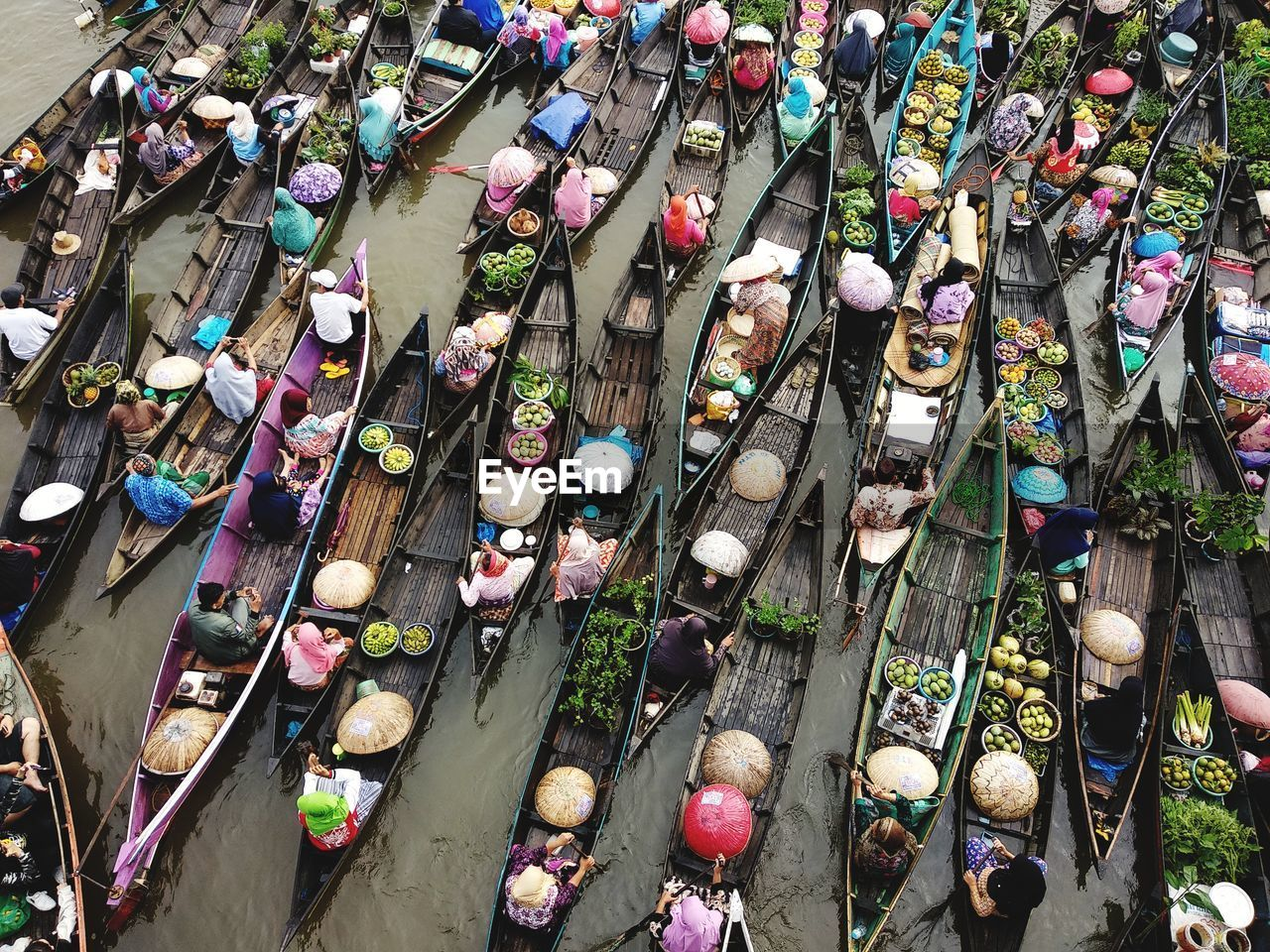 high angle view, day, city, transportation, street, mode of transportation, outdoors, group of people, land vehicle, large group of people, large group of objects, architecture, nature, in a row, side by side, variation, abundance