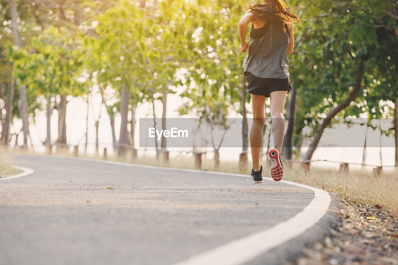 road, one person, lifestyles, city, transportation, women, real people, leisure activity, day, selective focus, street, nature, rear view, plant, footpath, casual clothing, sunlight, walking, skateboard, outdoors, hairstyle, surface level