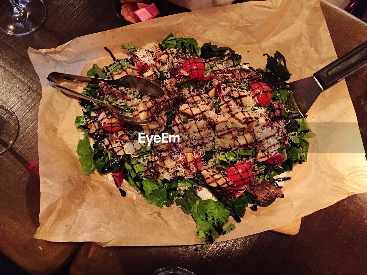 food and drink, food, freshness, table, high angle view, indoors, healthy eating, no people, meat, ready-to-eat, serving size, cutting board, paper, close-up, day