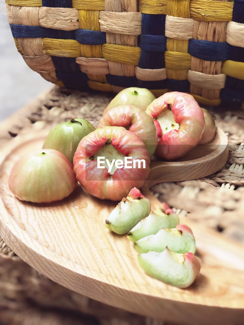 food and drink, basket, freshness, food, still life, healthy eating, container, no people, wood - material, wellbeing, fruit, wicker, close-up, high angle view, indoors, table, group of objects, group, focus on foreground, apple - fruit