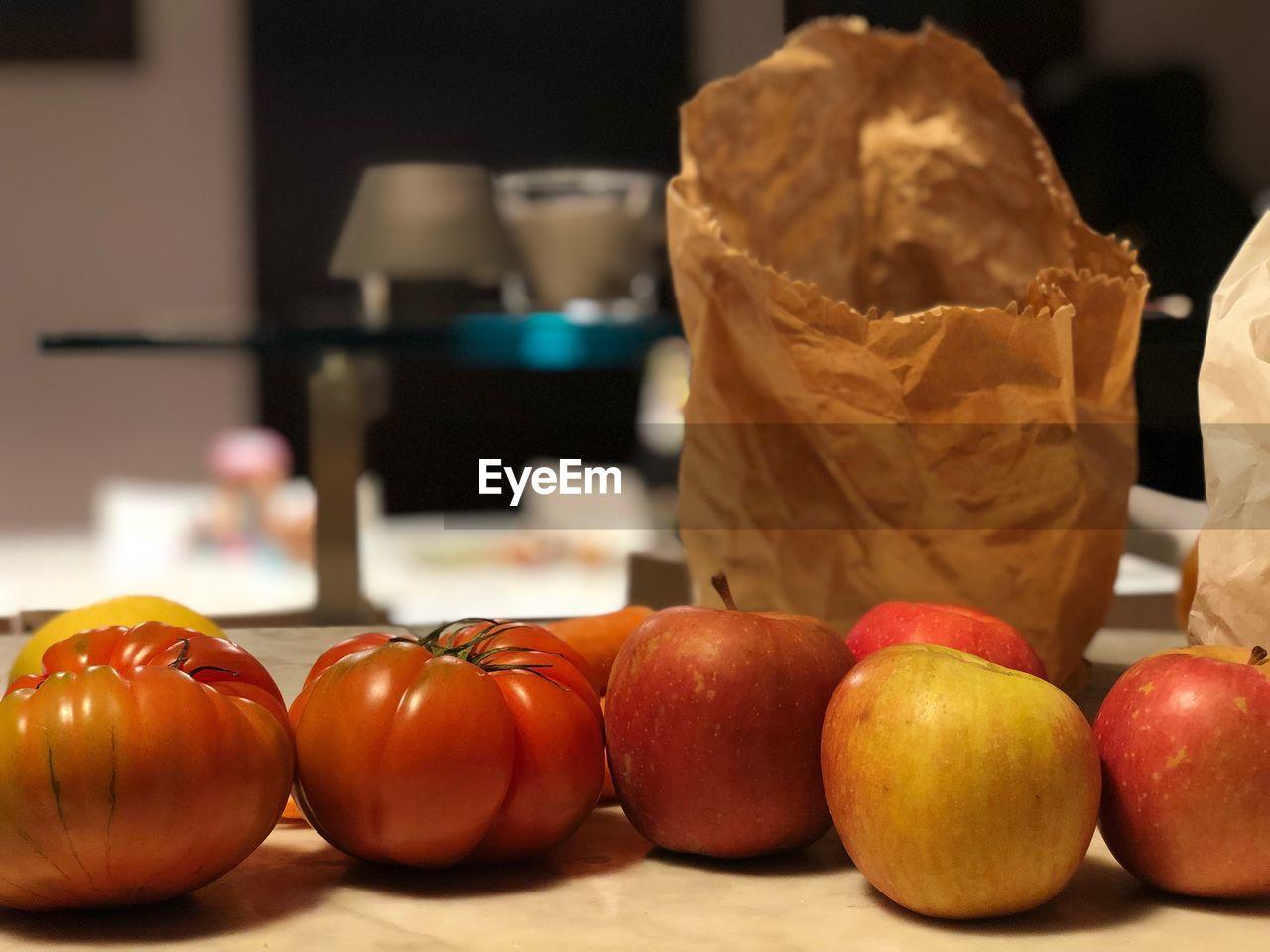 food and drink, food, freshness, healthy eating, fruit, wellbeing, still life, focus on foreground, no people, indoors, table, close-up, choice, variation, vegetable, tomato, apple - fruit, group of objects, day, red