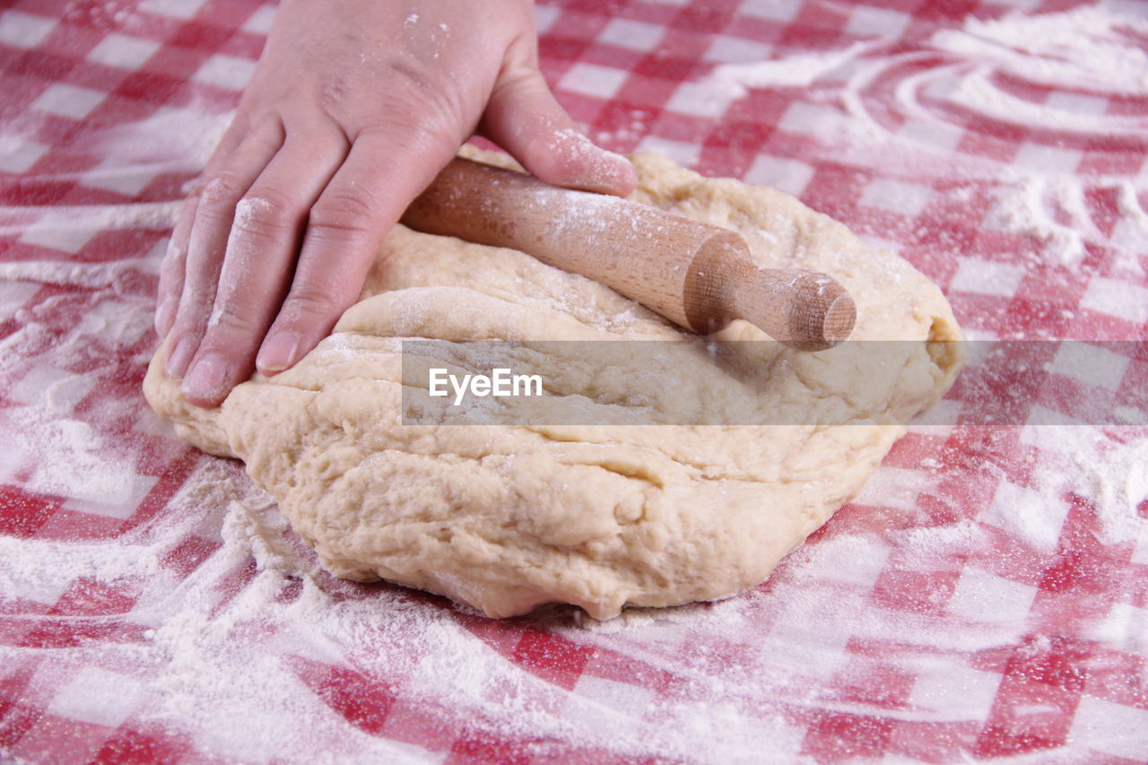 human hand, food, hand, food and drink, human body part, dough, indoors, making, one person, close-up, freshness, preparation, flour, raw food, finger, human finger, preparing food, kneading, pastry dough, baked pastry item