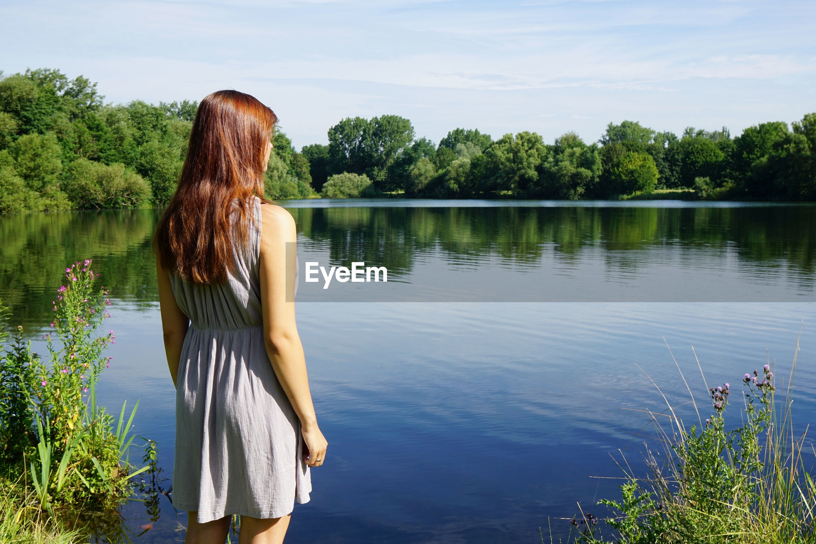 Rear view of woman looking at lake