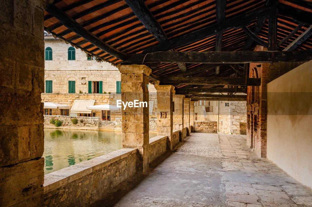 Historic bath and columns in bagno vignoni, italy