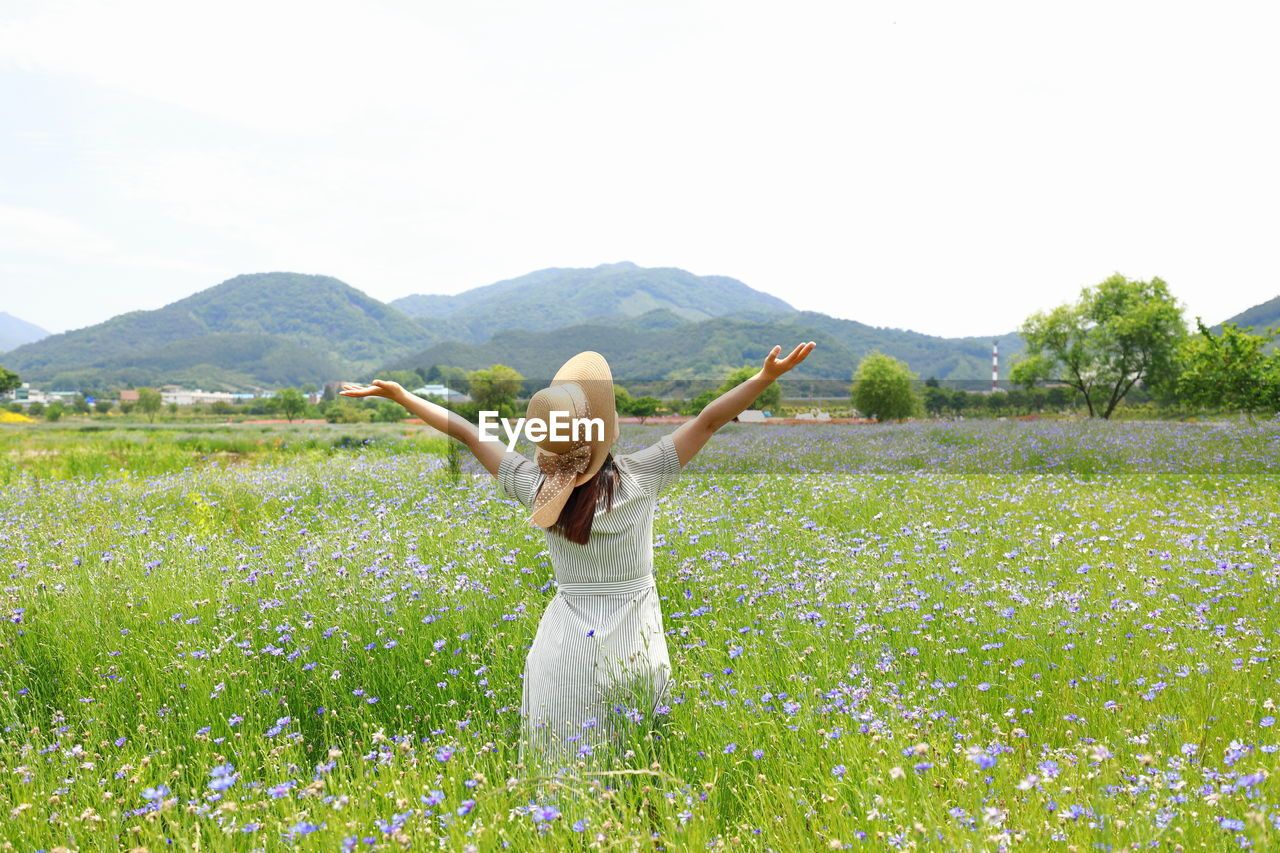 human arm, plant, one person, sky, beauty in nature, nature, land, mountain, grass, field, leisure activity, three quarter length, tranquil scene, scenics - nature, real people, rear view, women, tranquility, limb, lifestyles, arms raised, arms outstretched, freedom, outdoors, hairstyle