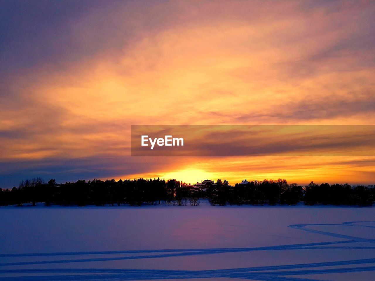 sky, sunset, cloud - sky, beauty in nature, scenics - nature, winter, cold temperature, tree, tranquil scene, tranquility, orange color, snow, plant, nature, no people, silhouette, environment, landscape, non-urban scene, outdoors, romantic sky