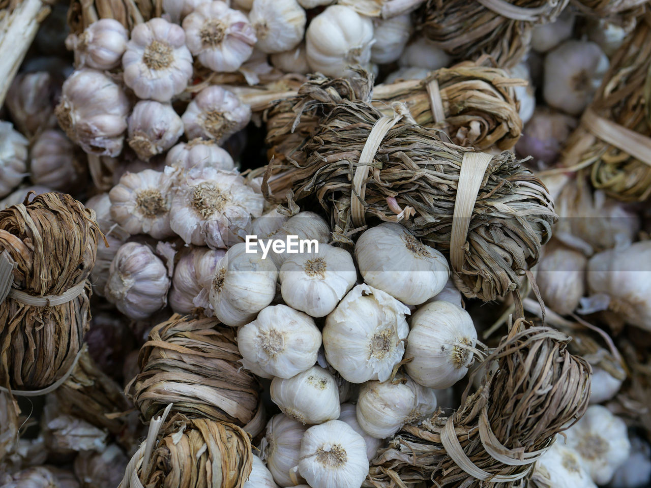 Close-up of garlic for sale in market