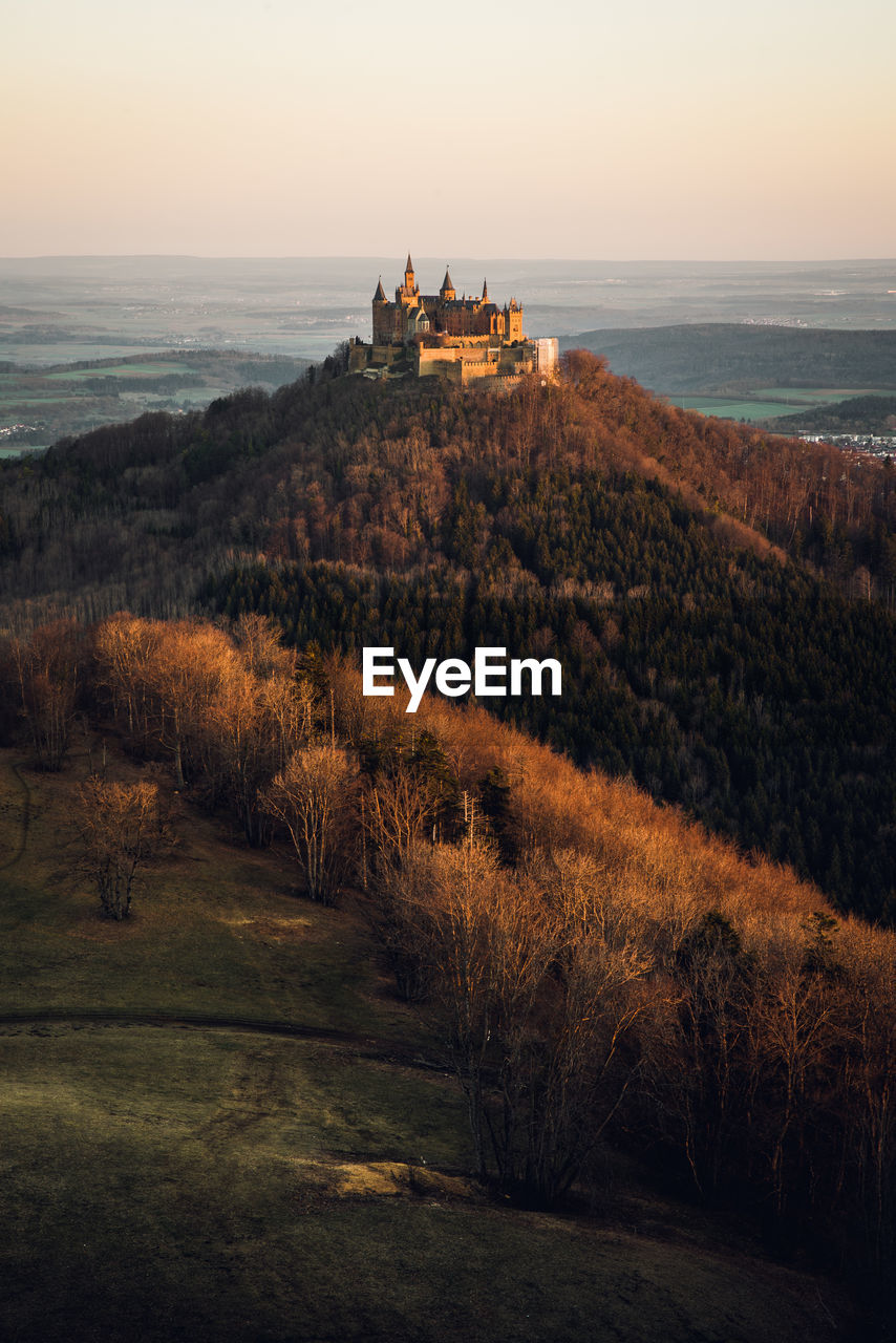 Scenic view of castle against sky during sunset
