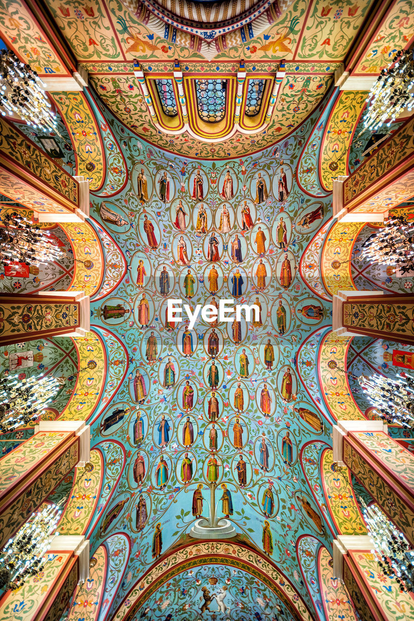 religion, belief, indoors, place of worship, art and craft, no people, spirituality, ceiling, pattern, architecture, built structure, mural, multi colored, travel destinations, fresco, creativity, design, history, full frame, ornate, floral pattern