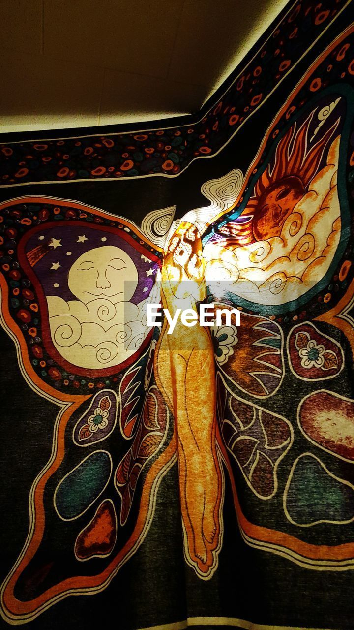 art and craft, indoors, ornate, no people, multi colored, low angle view, close-up, day