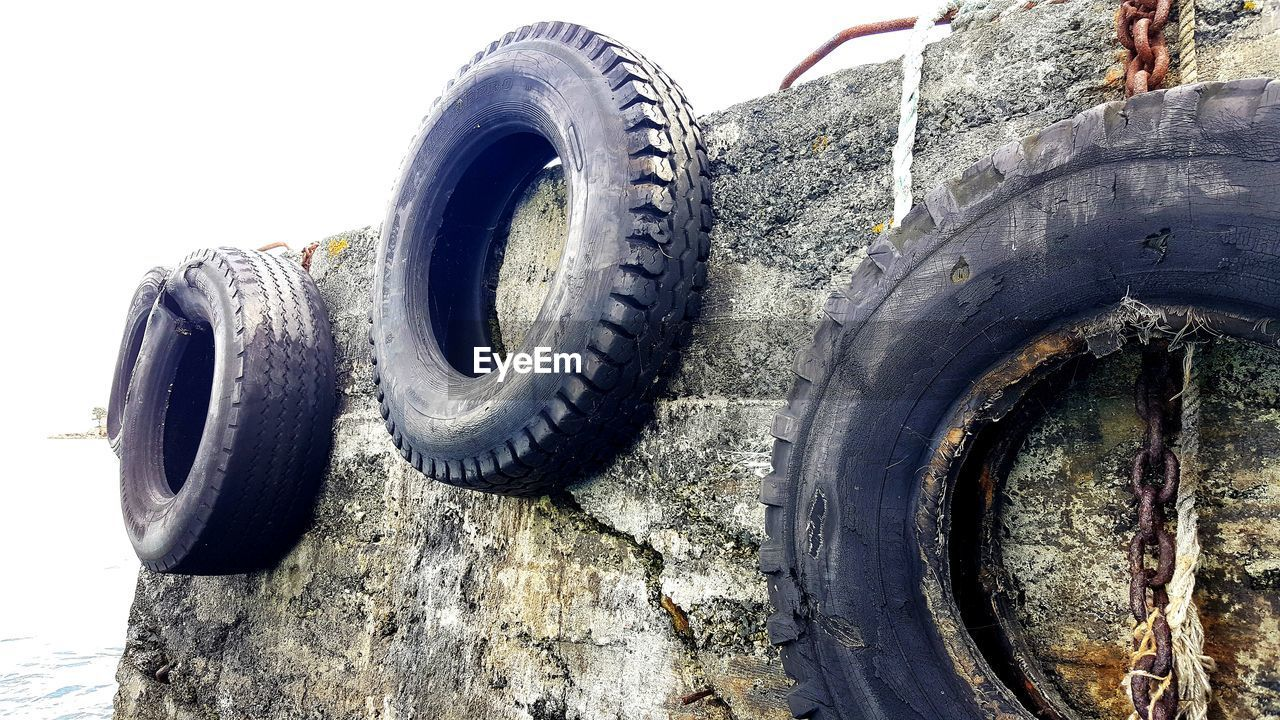 Close-up of tires on wall