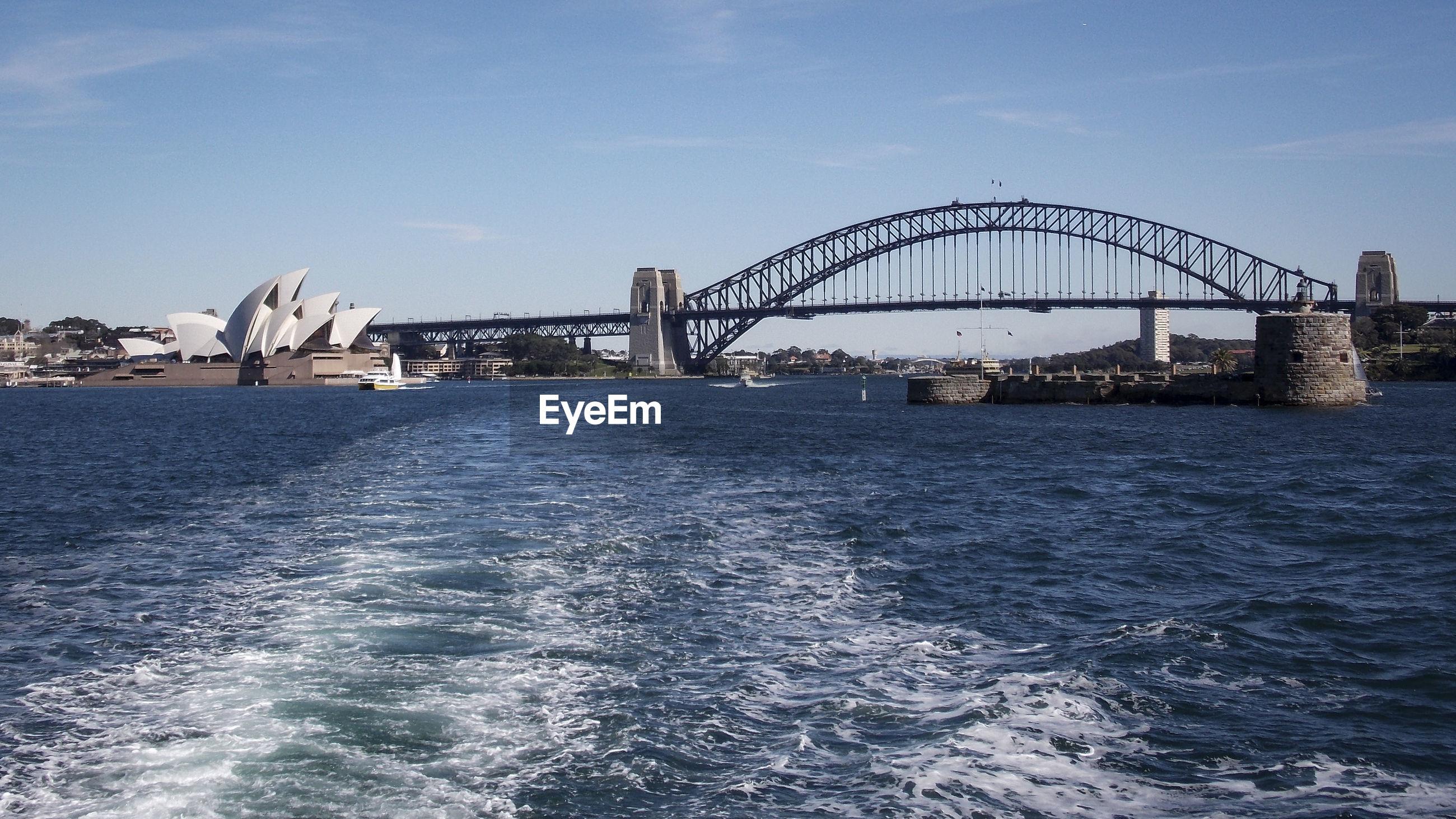 Sydney opera house and harbor bridge at harbor