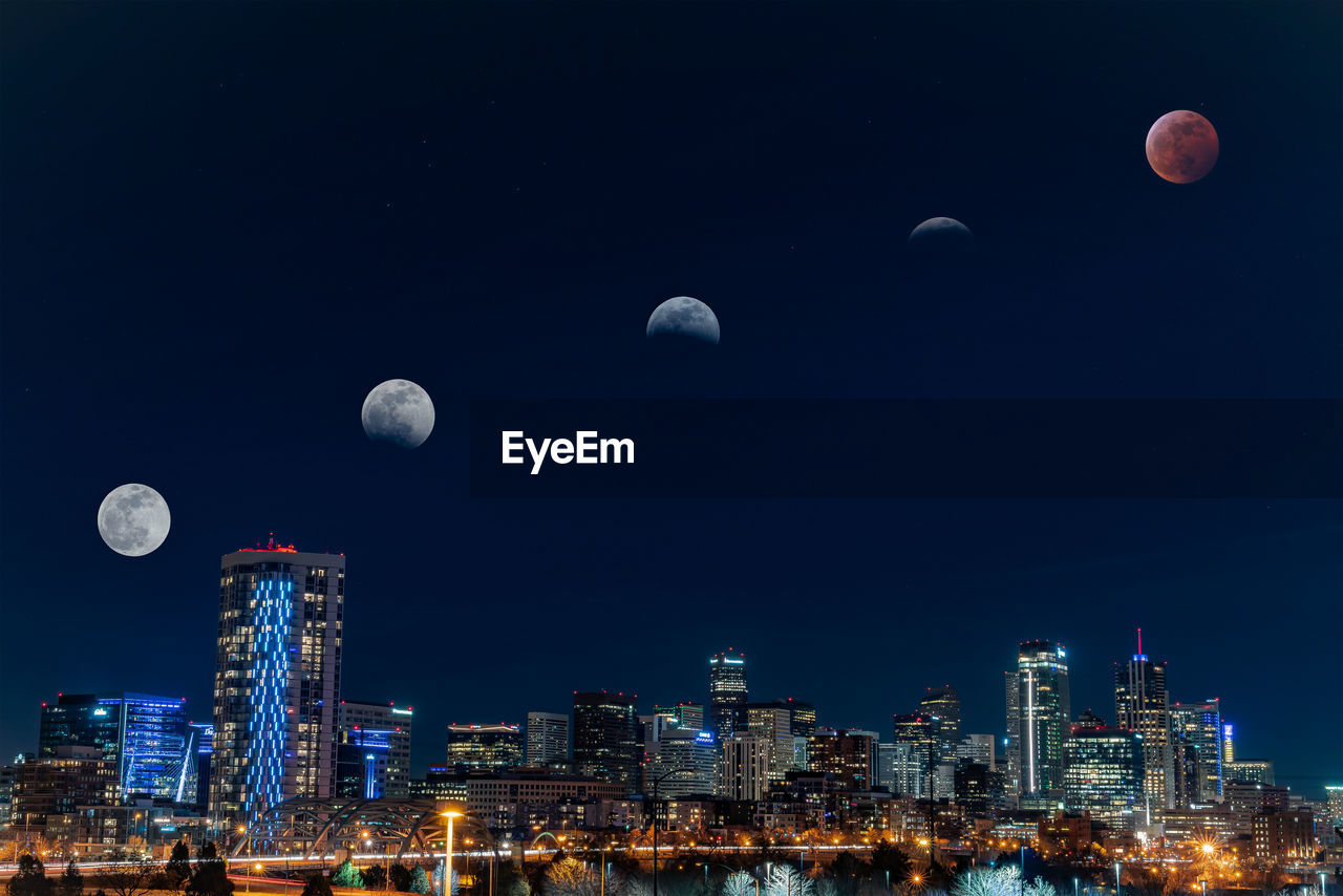 night, moon, sky, building exterior, architecture, city, built structure, nature, astronomy, space, building, no people, full moon, cityscape, office building exterior, outdoors, landscape, half moon, planetary moon, skyscraper, moonlight