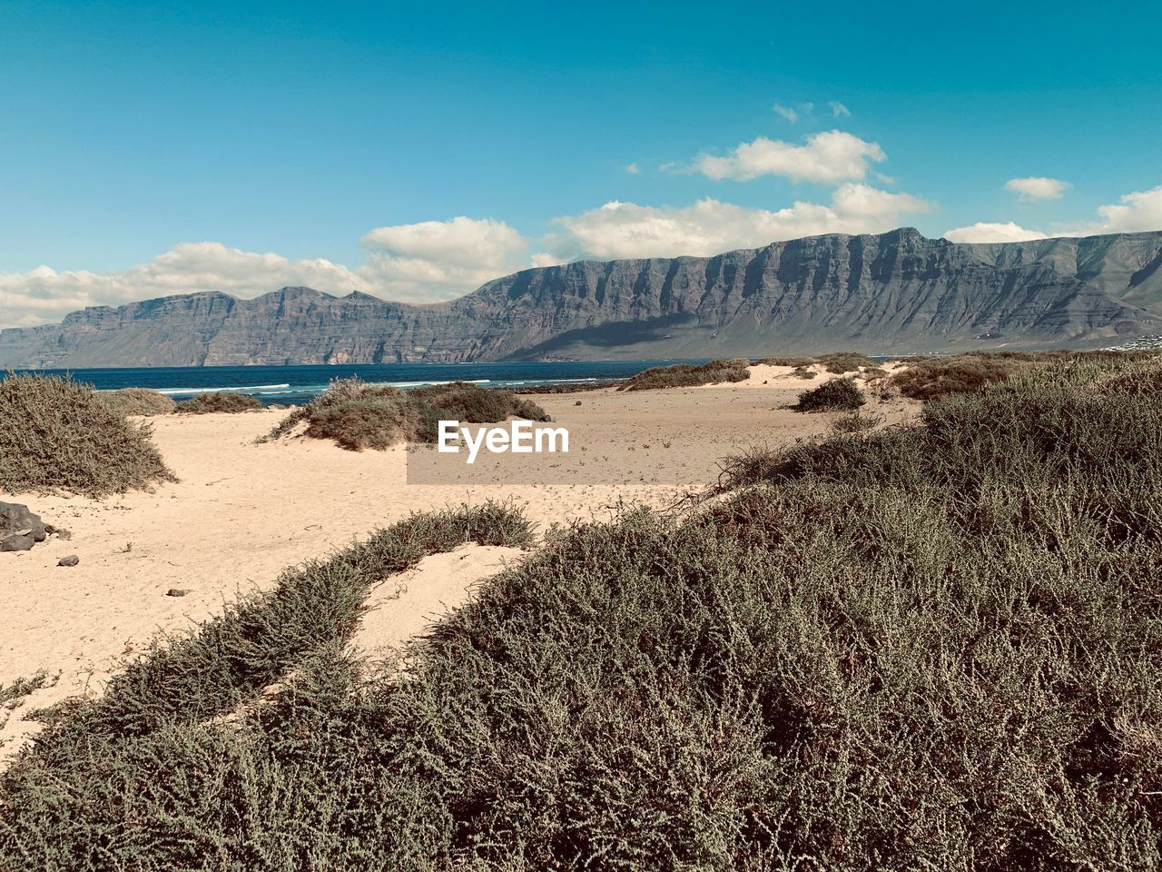 sky, scenics - nature, beauty in nature, tranquility, land, tranquil scene, plant, mountain, day, environment, landscape, nature, non-urban scene, grass, cloud - sky, no people, sunlight, sand, mountain range, outdoors, arid climate, marram grass