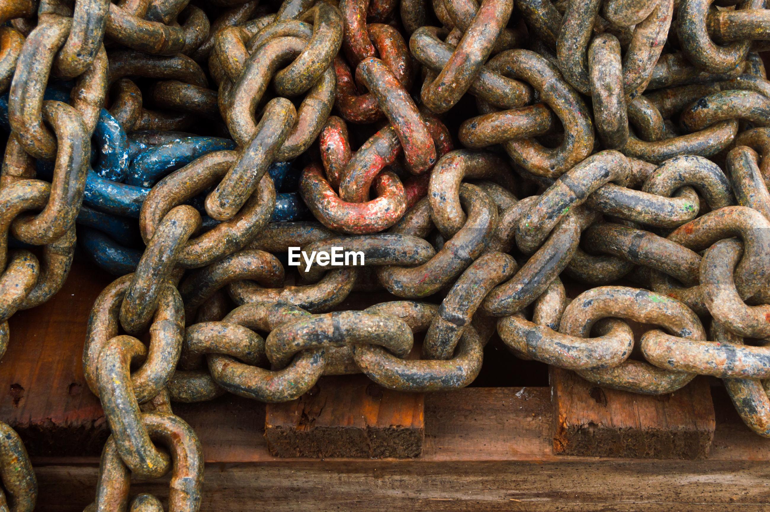 Full frame shot of rusty metal chain