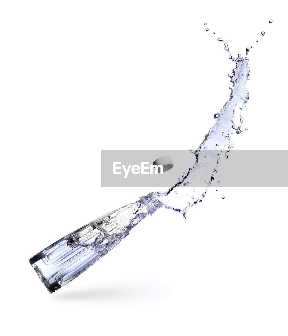 white background, studio shot, indoors, copy space, no people, close-up, still life, cut out, motion, splashing, drop, water, nature, metal, single object, sharp, design, high angle view, food and drink