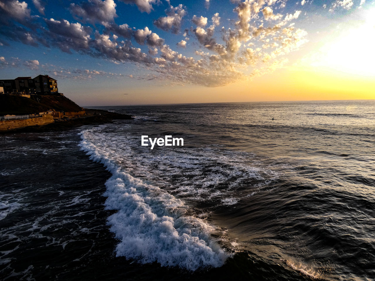 water, sea, sky, sunset, cloud - sky, scenics - nature, motion, horizon, horizon over water, beauty in nature, beach, wave, land, nature, surfing, aquatic sport, sport, tranquil scene, tranquility, sun, outdoors, power in nature