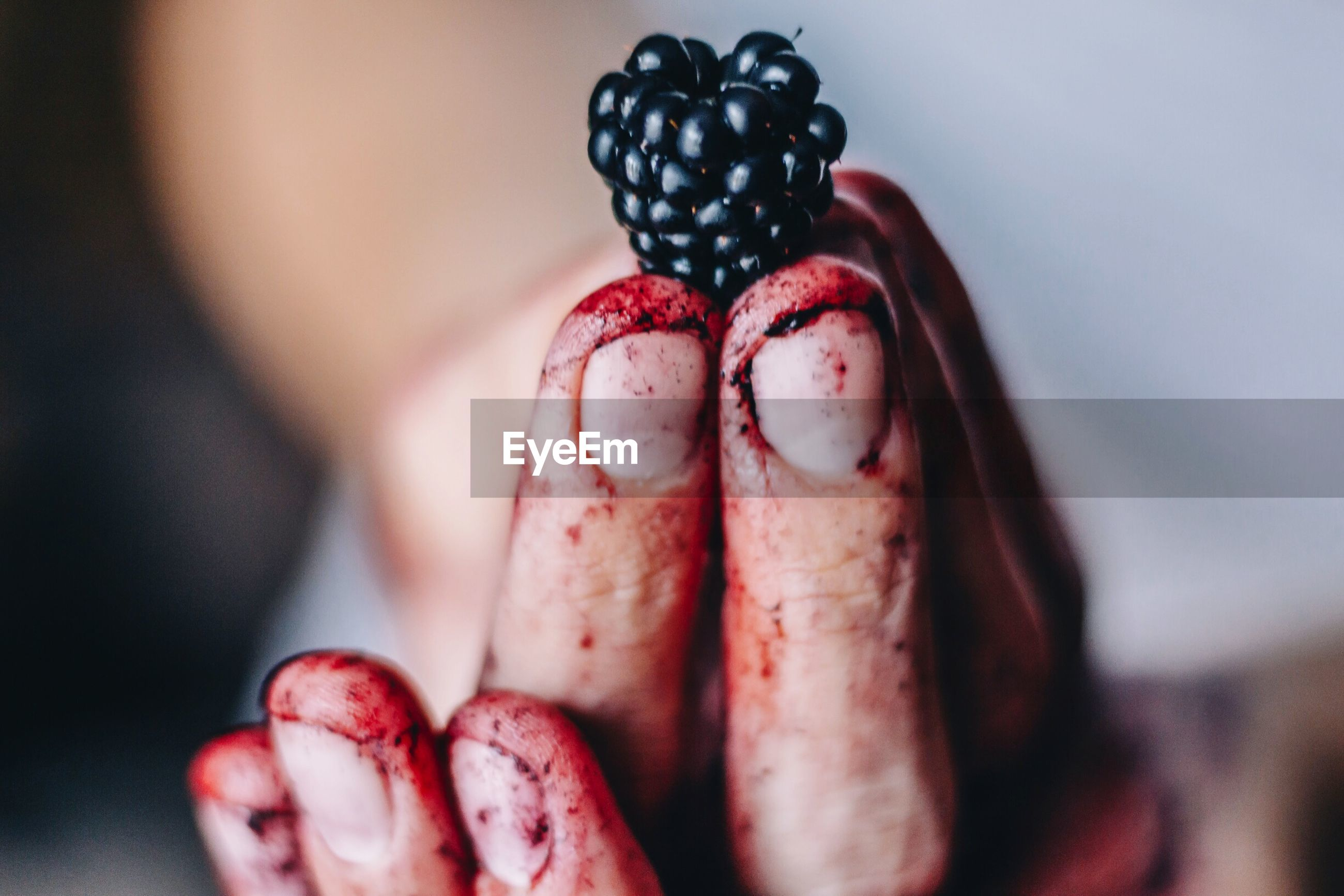 Cropped image of dirty hand holding blackberry