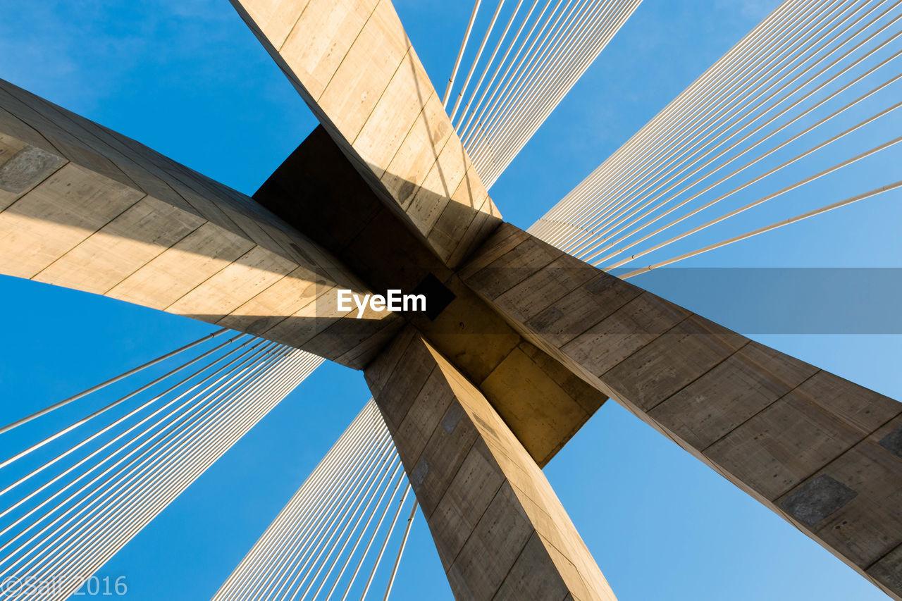 Directly Below Shot Of Rabat Bridge Against Clear Blue Sky