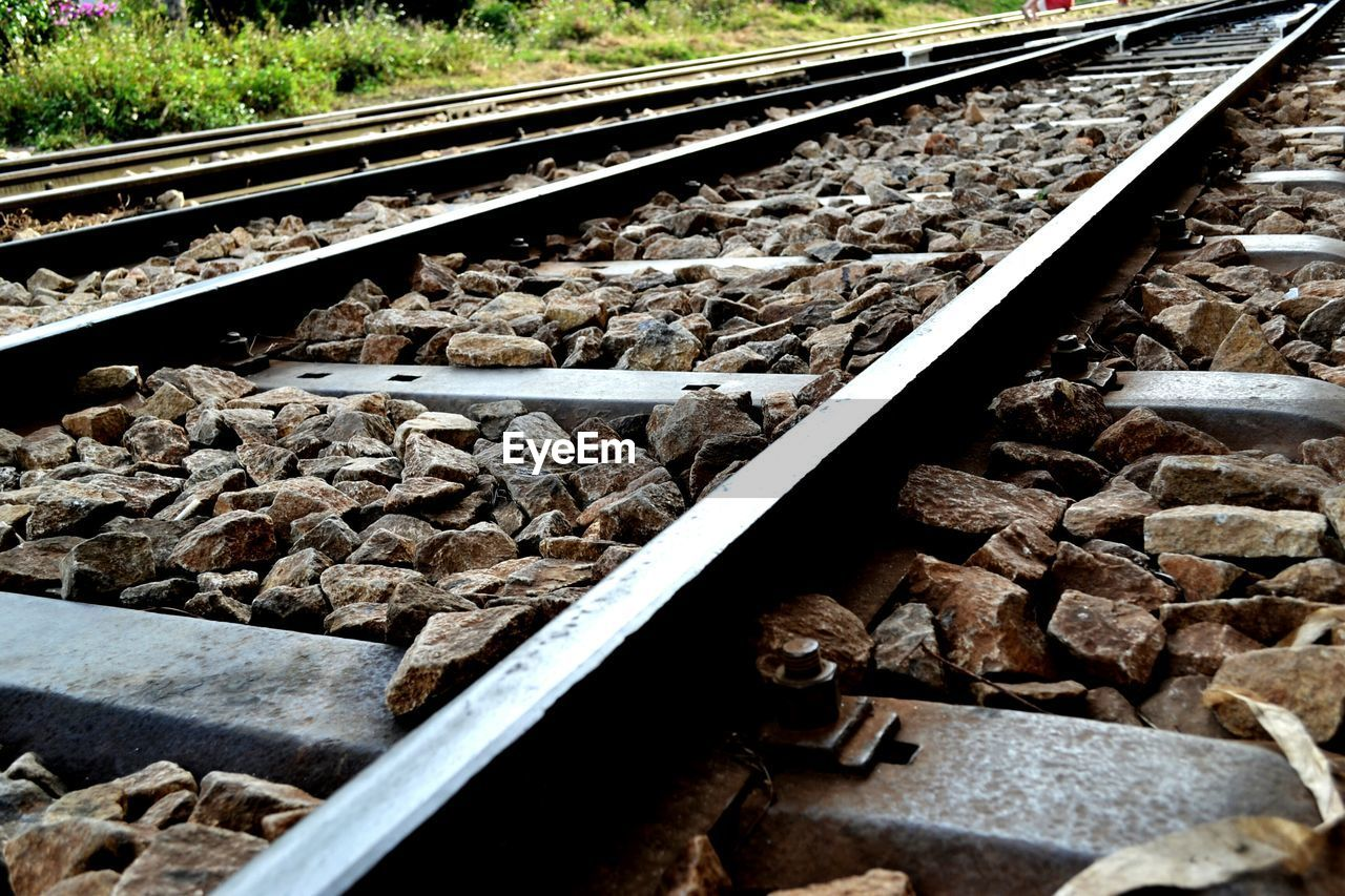 railroad track, rail transportation, transportation, railroad tie, no people, rock - object, day, outdoors, close-up
