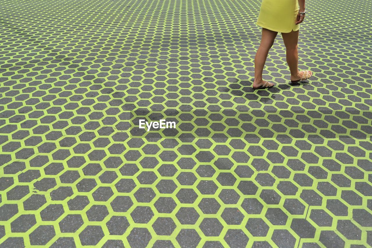 Low Section Of Woman Walking On Patterned Pavement