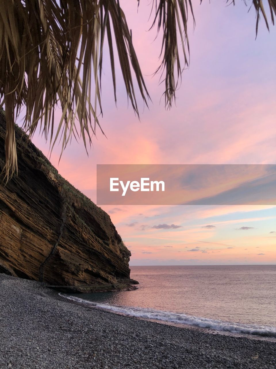 sky, sea, water, sunset, beauty in nature, beach, tranquil scene, scenics - nature, horizon over water, tranquility, land, horizon, no people, idyllic, cloud - sky, nature, non-urban scene, tree, sand, palm leaf