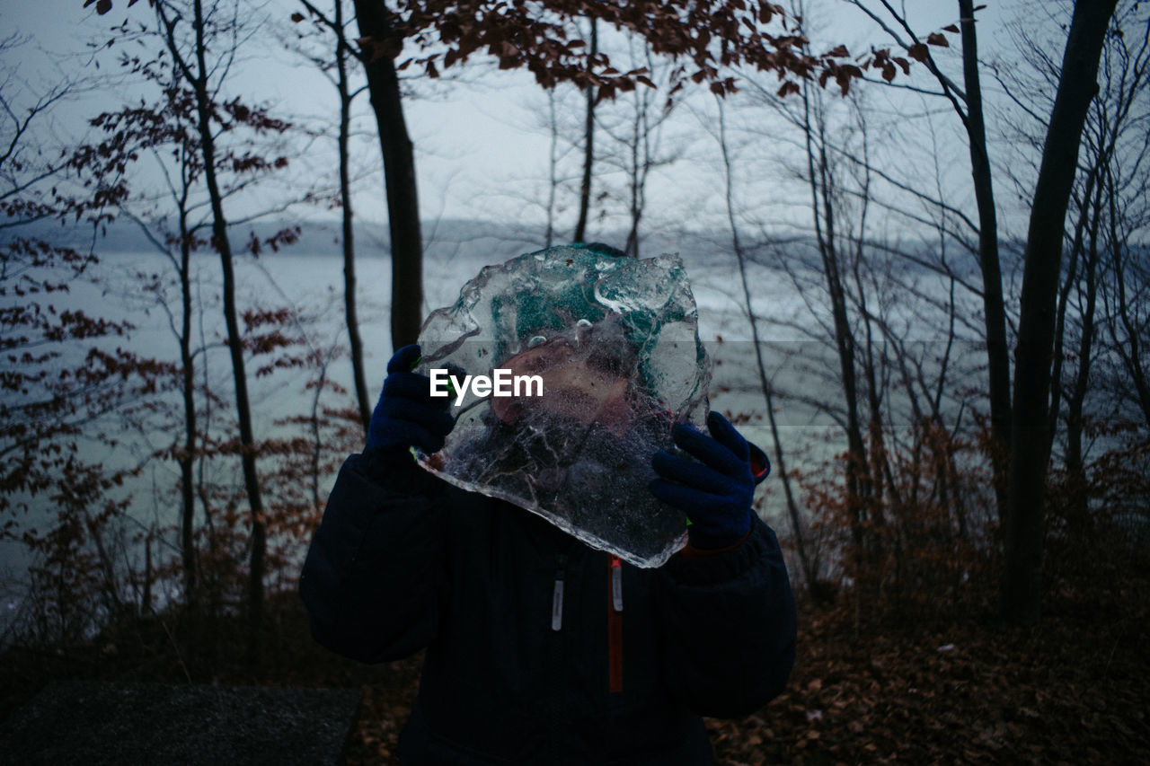 Woman holding ice