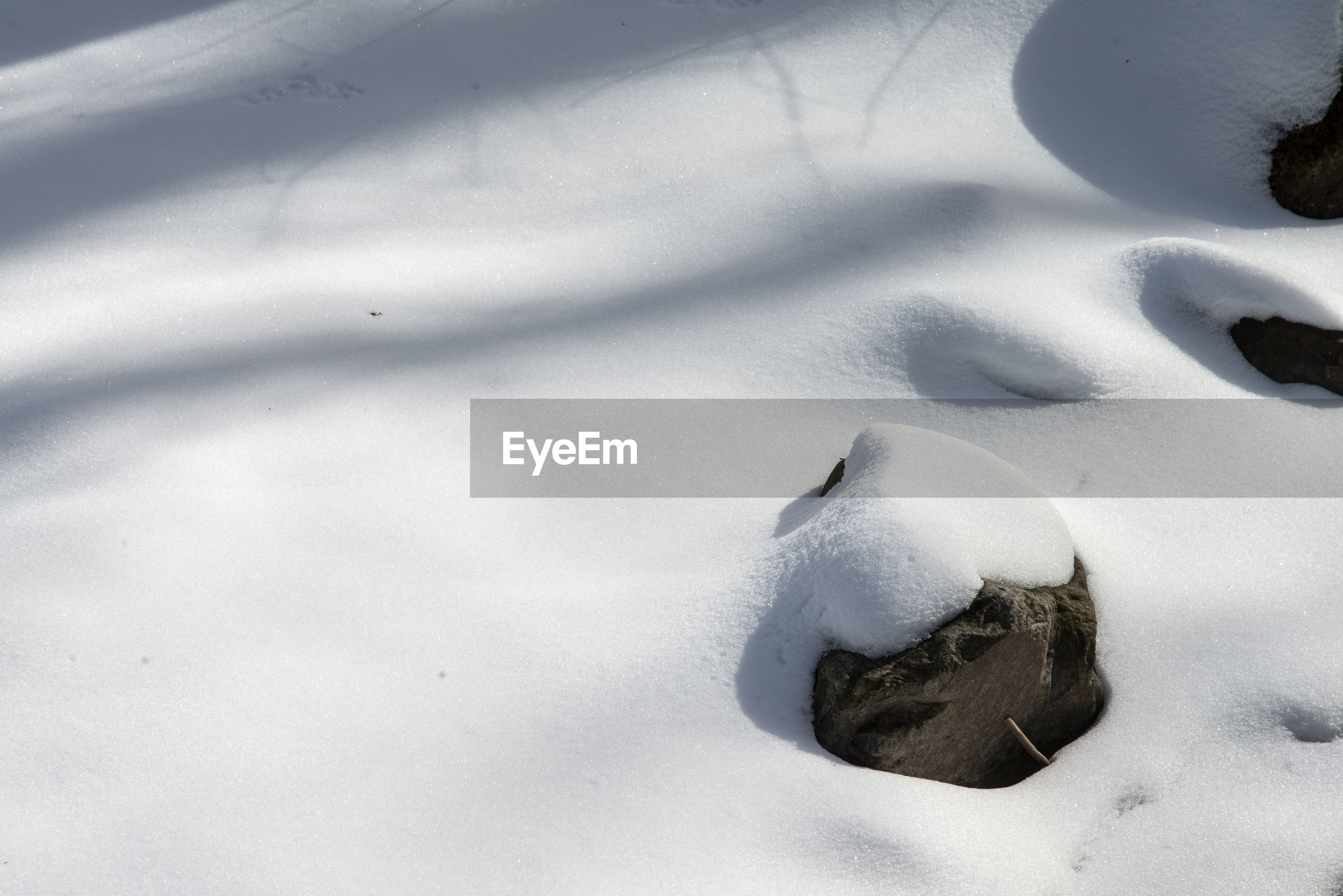 Full frame shot of snow with rock