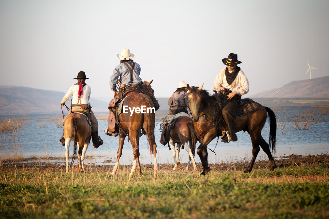 mammal, domestic animals, horse, group of animals, livestock, domestic, animal wildlife, horseback riding, pets, vertebrate, working animal, ride, riding, men, sky, real people, activity, cowboy, outdoors, cowboy hat, herbivorous