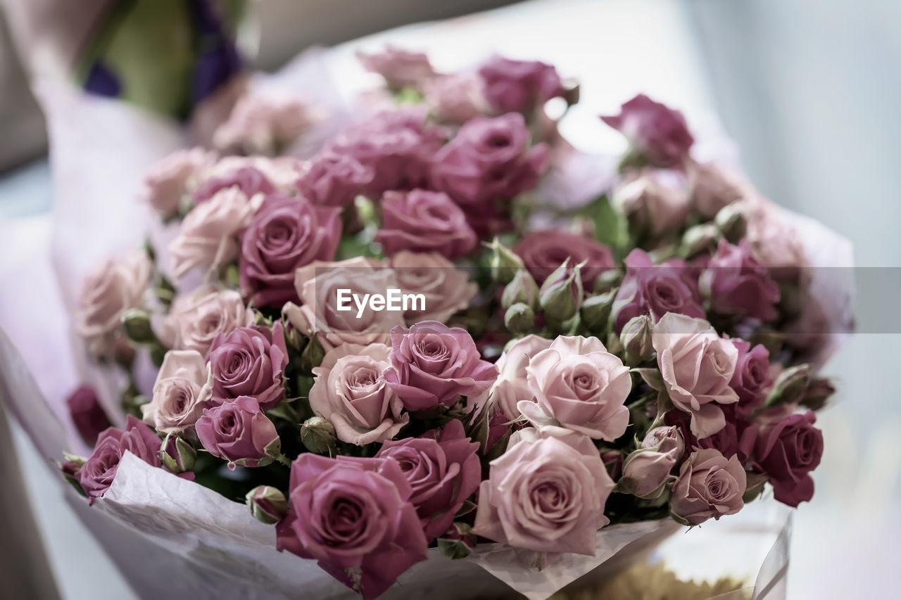 flower, beauty in nature, flowering plant, rose, plant, rose - flower, pink color, flower arrangement, freshness, bouquet, vulnerability, flower head, fragility, close-up, inflorescence, nature, petal, arrangement, selective focus, no people, bunch of flowers
