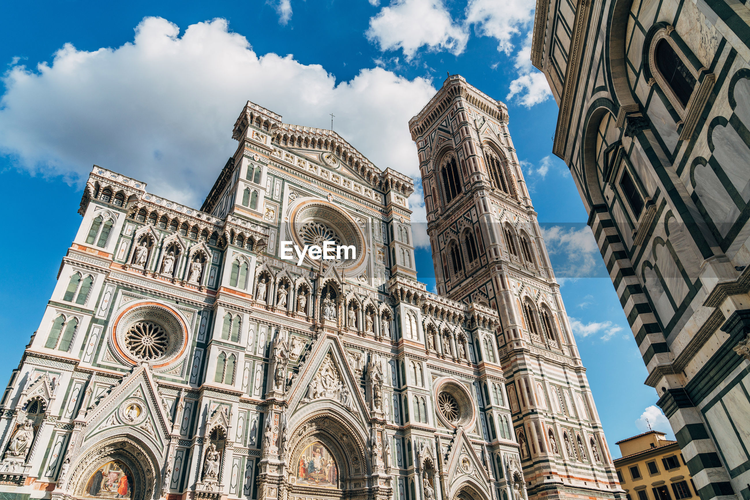 Low angle view of florence cathedral against sky in city
