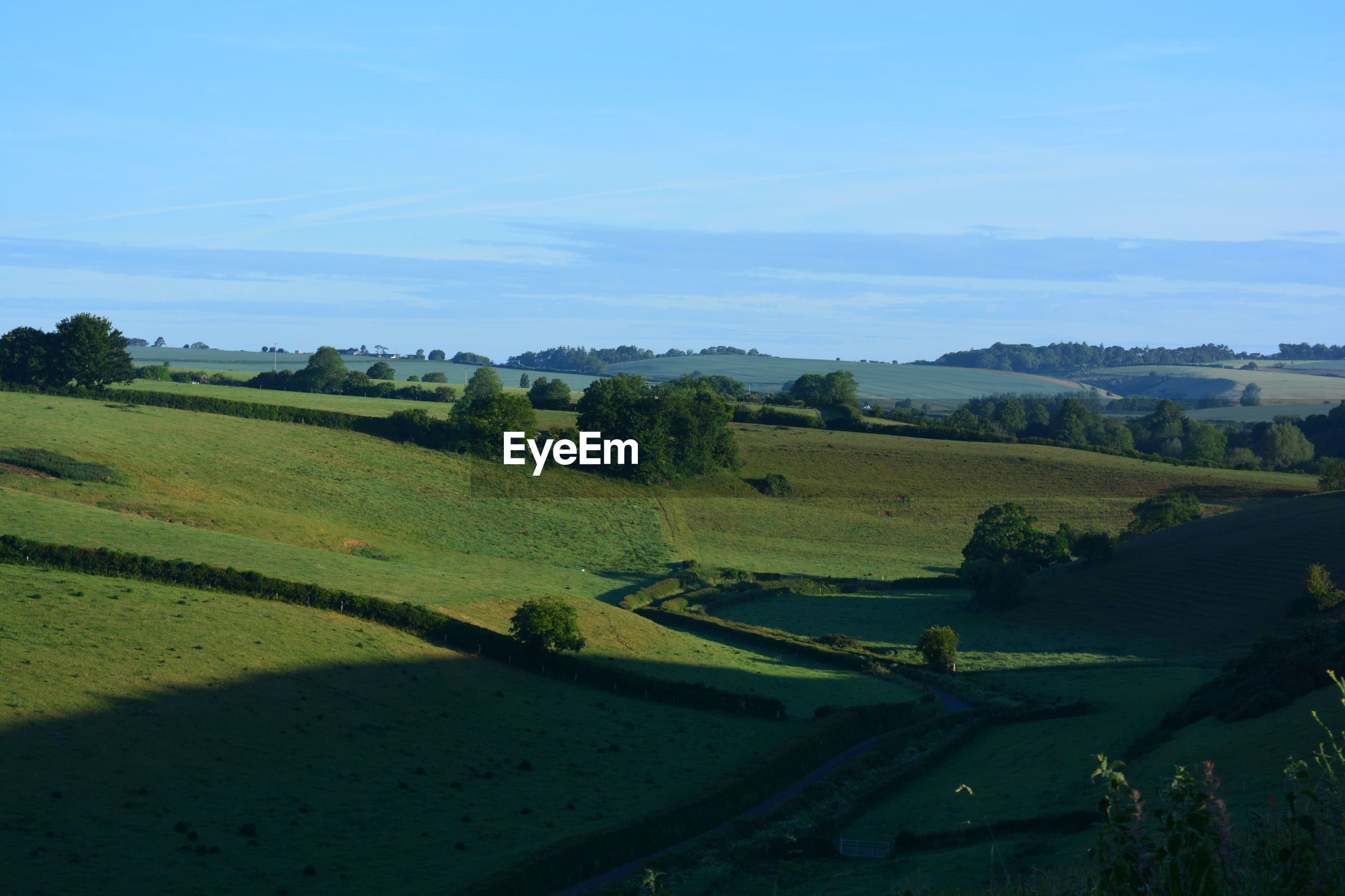 Panoramic view in summer, from oborne towards hamlet of poyntington, sherborne, dorset, england