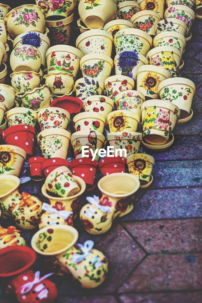 multi colored, choice, variation, large group of objects, high angle view, food and drink, still life, no people, for sale, art and craft, food, abundance, indoors, close-up, creativity, arrangement, pattern, retail, design, floral pattern