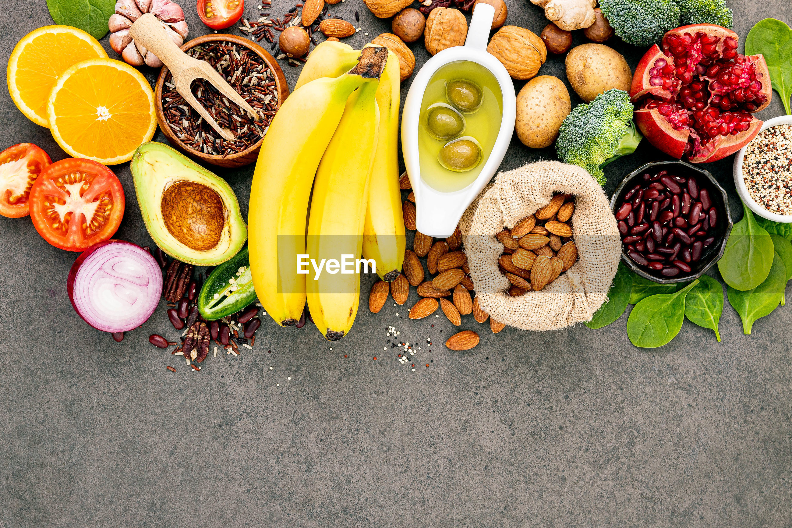 HIGH ANGLE VIEW OF VARIOUS FRUITS ON FLOOR