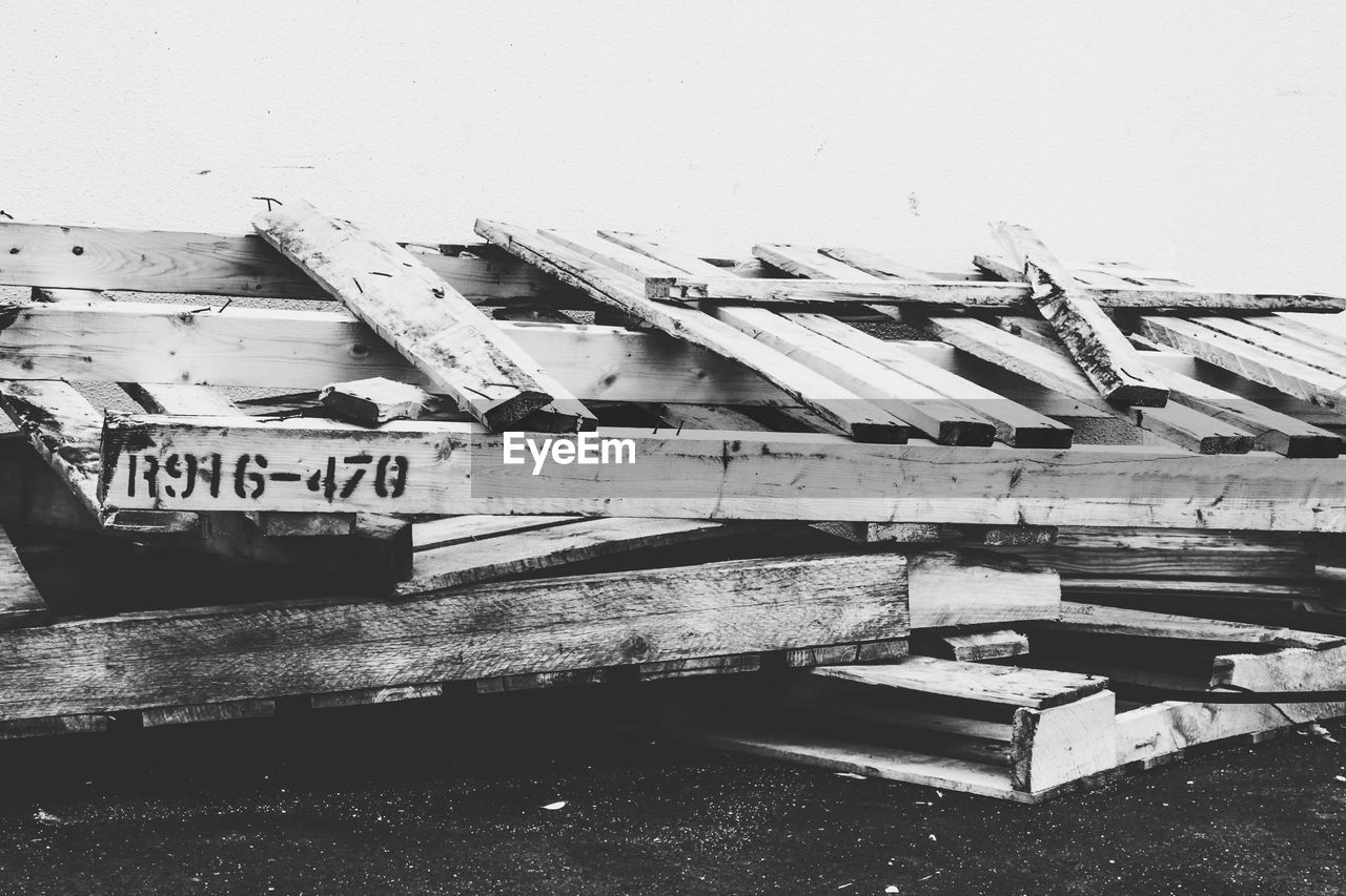 Stack of damaged pallets