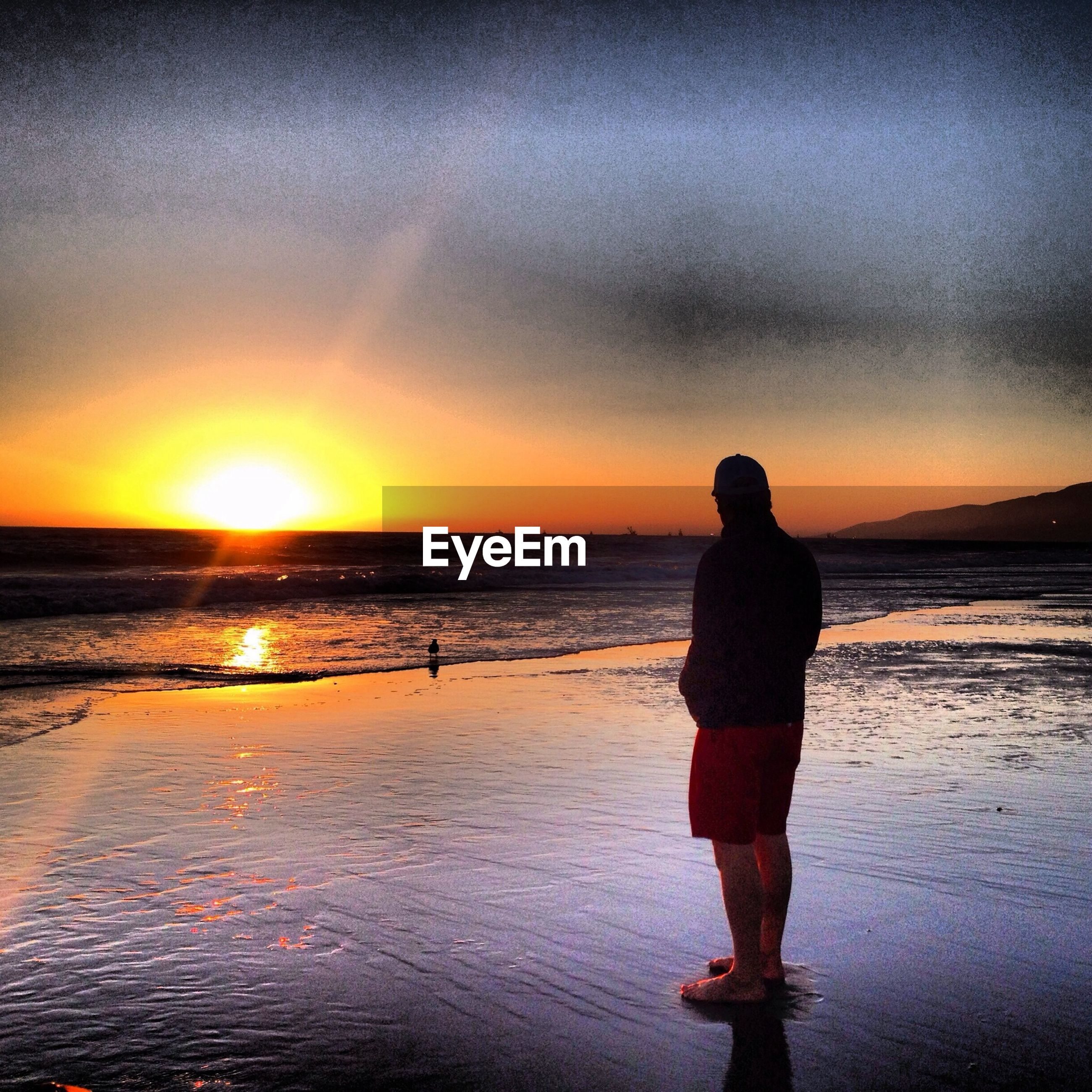 Rear view of man standing on shore at beach against sky during sunset