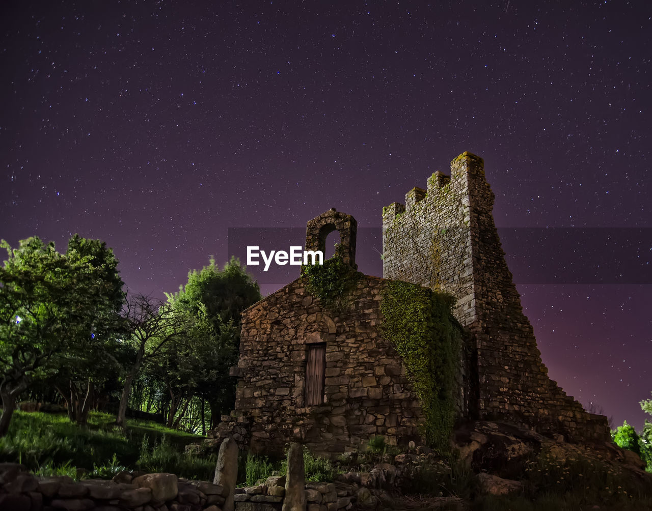 architecture, built structure, sky, building exterior, history, night, the past, star - space, building, old ruin, space, old, nature, low angle view, astronomy, no people, ancient, abandoned, ruined, tree, deterioration, outdoors