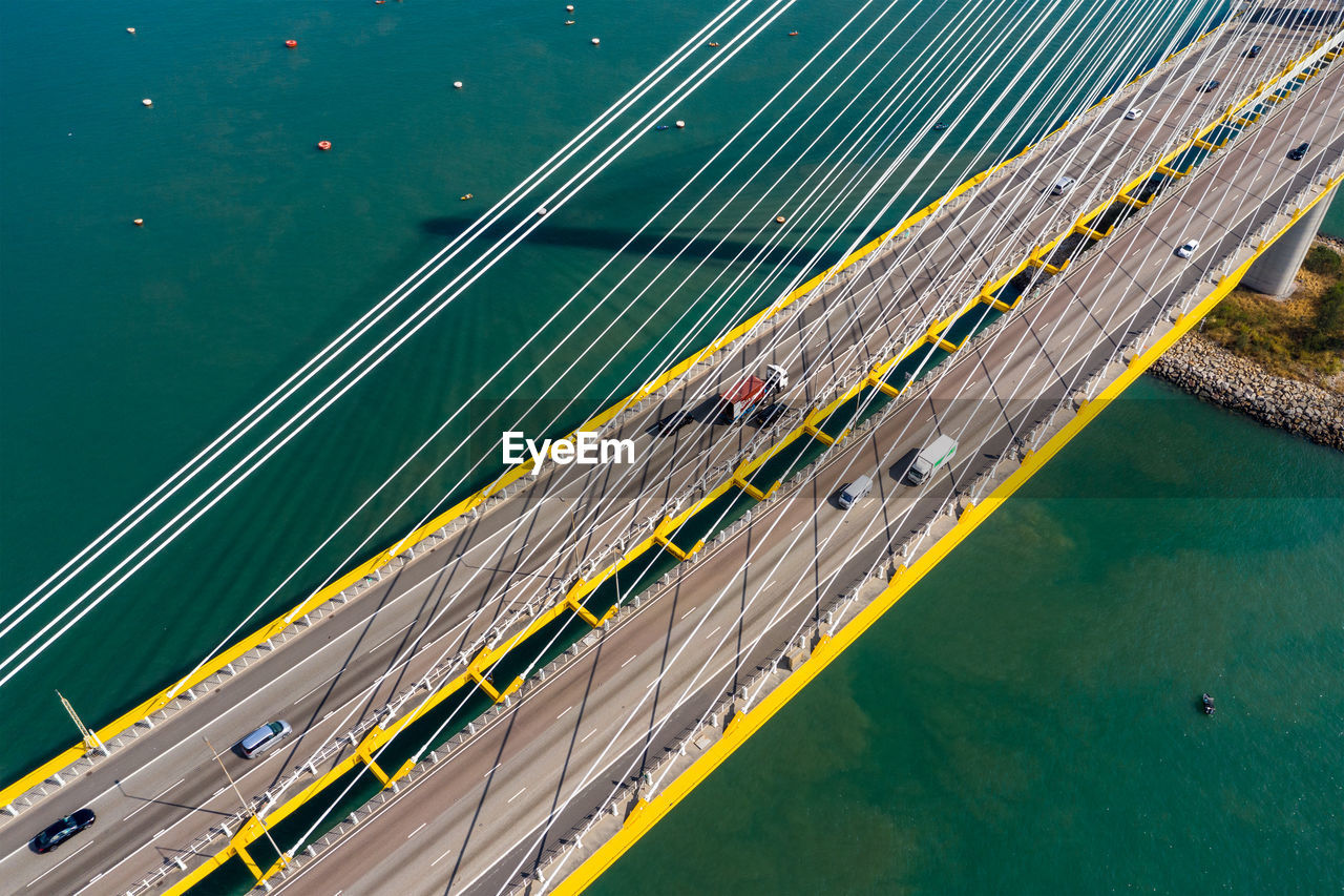 Aerial view of suspension bridge over bay